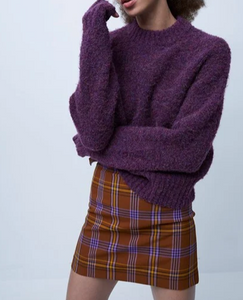 Kate Knits Crew Neck Jumper by French Connection in Tyrian Purple