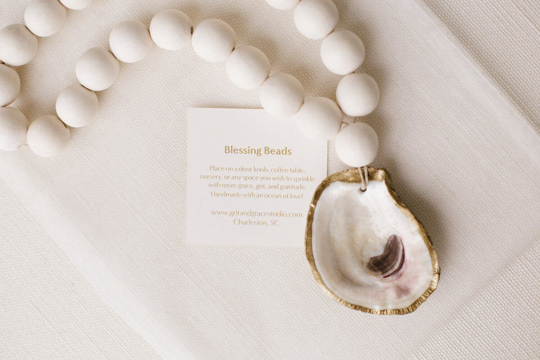 Recycle Oyster Shell Blessing Beads by Grit & Grace in White