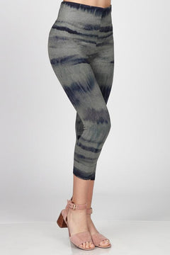 High Waist Crop Legging by M Rena in Blue Ocean Sand Sublimation Print