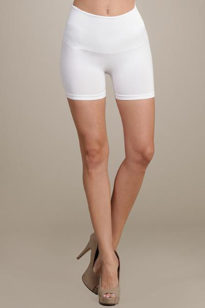 High Waist Tummy Tuck Panel Shorts by M Rena in White