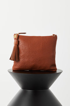 Jem Large Zip Clutch by Vash in Tan Bubble Leather