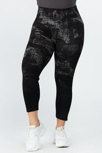 Cami/Short High Waste Crop Legging by M Rena in Ombre Distressed Camo