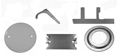 Conduit pipe. angle clip. nail strap, grounding clip. ceiling cover plates, safety plate, reducing washers. made in the usa.
