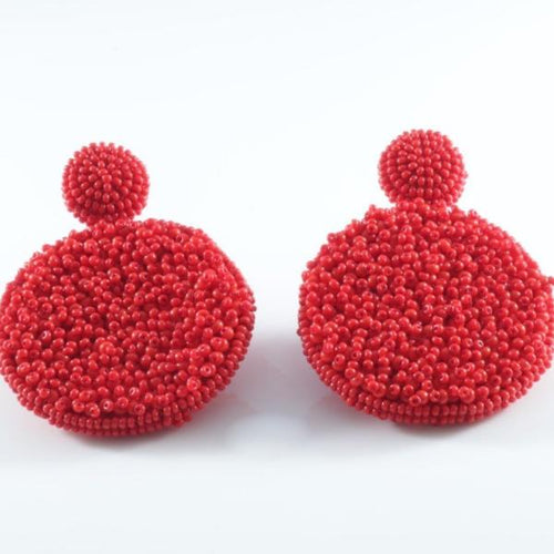 Vera Chaang Handmade Rita Earrings In Red - Basics and Organics