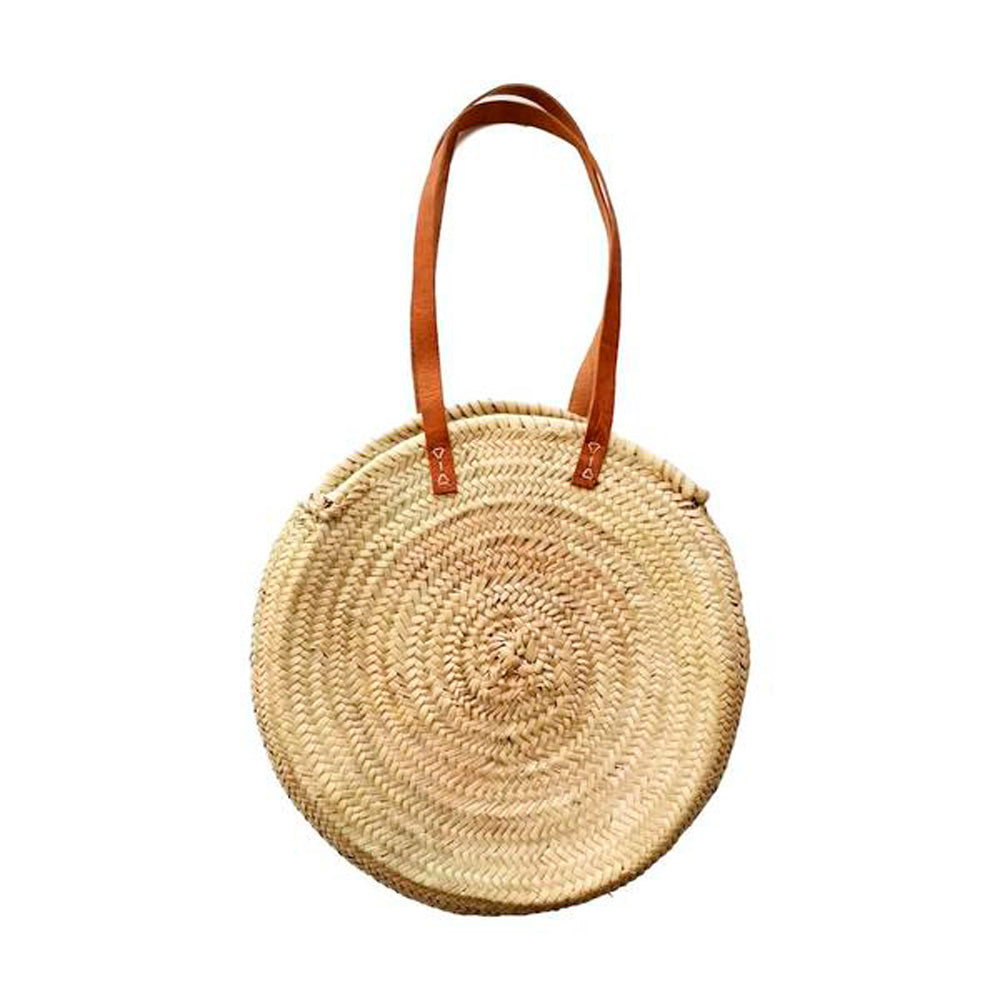 Natural Palm Handwoven Moroccan Round Bag w/ Leather - Basics and Organics