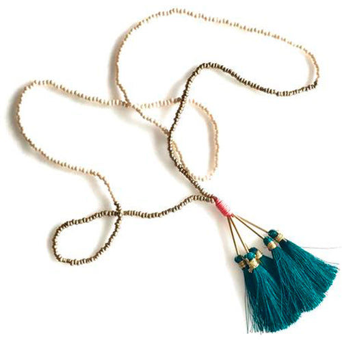 Vera Chaang Assana Long Handmade Necklace, Gold +Pearl Beads with colorful Tassels - Basics and Organics