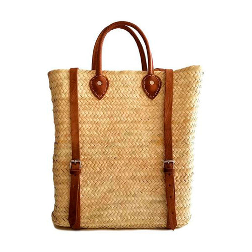Natural Palm and leather straps Handwoven Morrocan Backpack