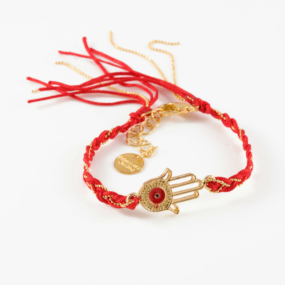 Vera Chaang Handmade Red Braid, Hamsa Bracelet - Basics and Organics