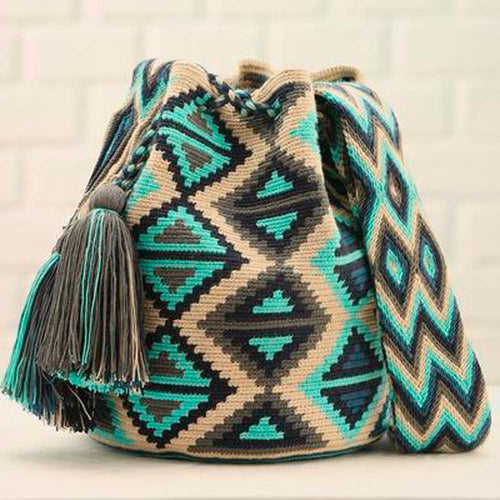 Cedral Ethnic Handmade Colombian Bag woven in beautiful turquoise and dark blue colors  - Basics and Organics