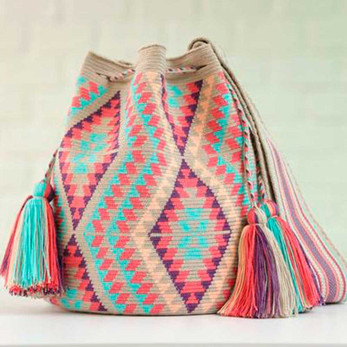 Pastels and Turquoise Handmade Colombian Wayuu Bag