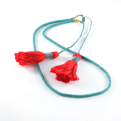 Vera Chaang Ganesha Turquoise Handmade Long Necklace - Basics and Organics