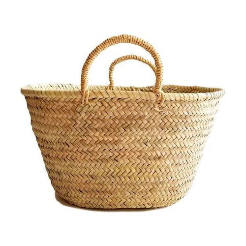 Natural Palm Handwoven Moroccan Market Basket - Basics and Organics