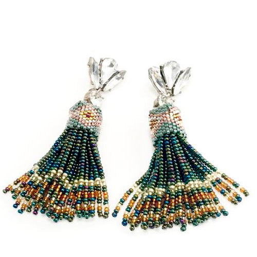 Missour Handmade Crystals and Beads Tassel Earrings - Basics and Organics