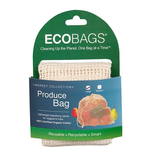 Ecobags Organic Cotton Mesh Drawstring Bag – Large - Basics and Organics