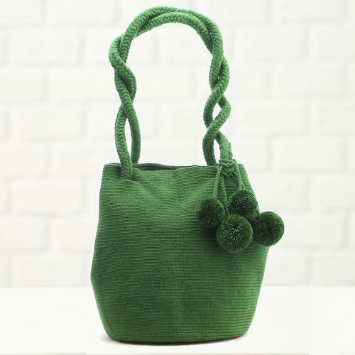 La Barra, Olive Pompon, Handmade Colombian Wayuu Bag - Basics and Organics