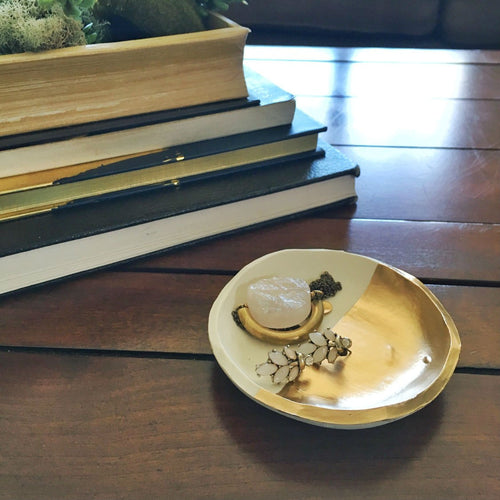 Gold Dipped Handmade Jewelry  and Ring Dish - Basics and Organics