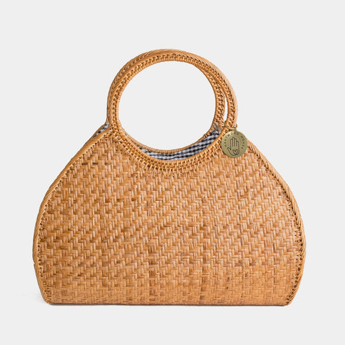 Hartwood Jane Bag Hand-made in Borneo, Bali from Raw Atte and Ginham Lining - Basics and Organics