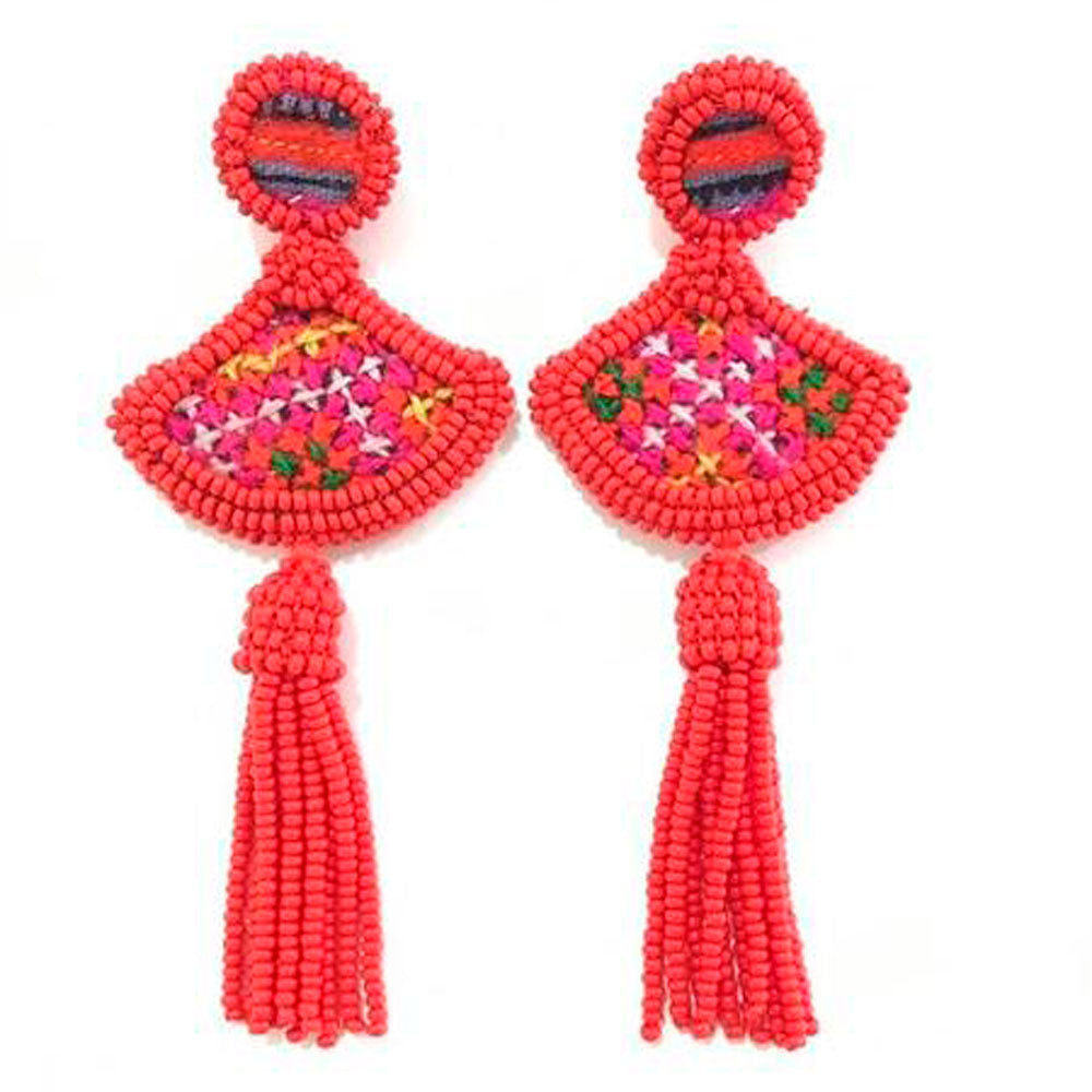 Vera Chaang Indira Handmade Long Bead Tassels Earrings - Basics and Organics