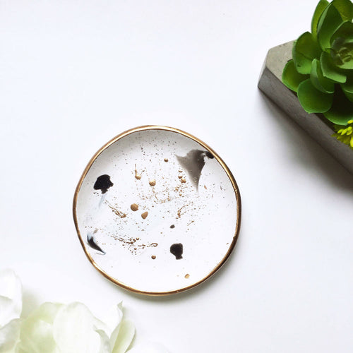 Gold Spatter Handmade Jewelry and  Ring Dish - Basics and Organics