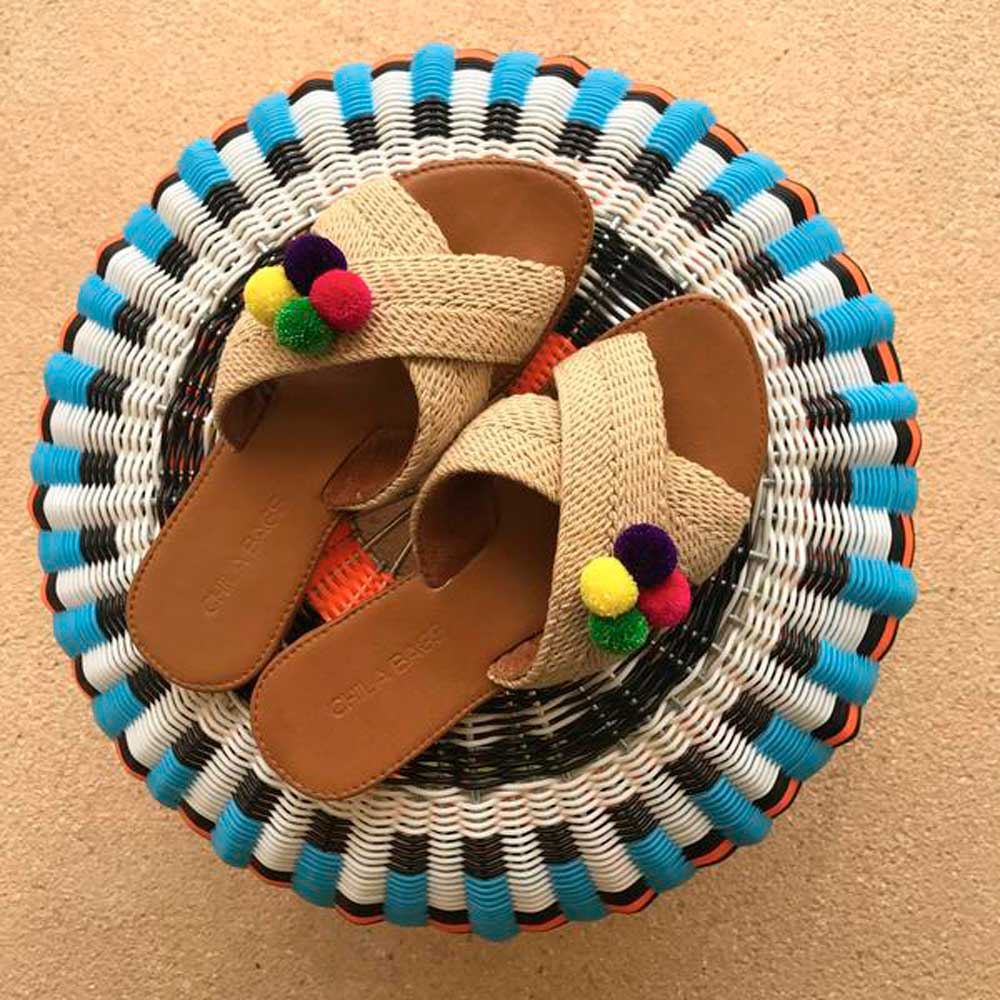 Tere Handmade Pompons Straight Sandals - Basics and Organics