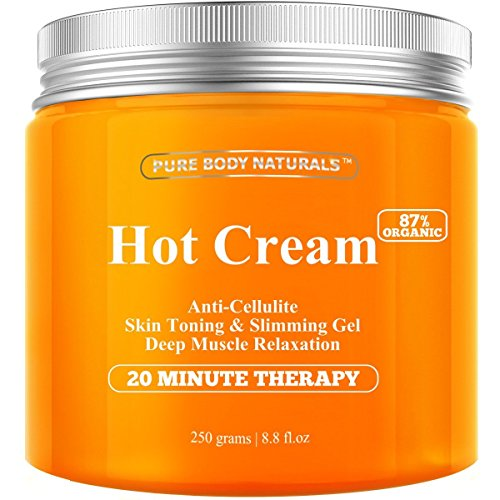 Pure Body Naturals Hot Cream for Cellulite Reduction, Skin Toning and Slimming