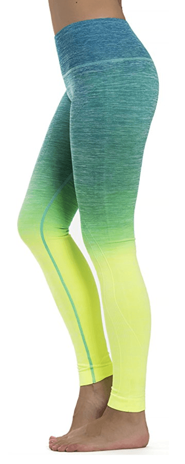 Prolific Health Fitness Power Flex Aqua/Neon Yoga Pants Leggings