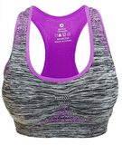 Women's Purple Seamless Sports Bra High Impact Pocket Yoga Bras