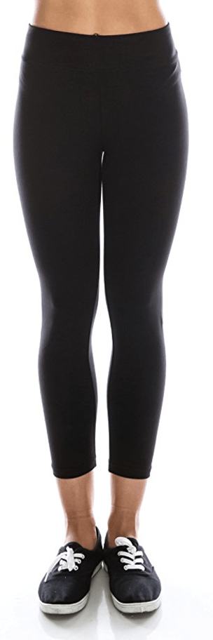 Black Cotton Spandex Basic Knit Jersey Capri Leggings for Women