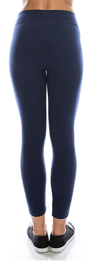 Navy Blue Cotton Spandex Basic Knit Jersey Capri Leggings for Women