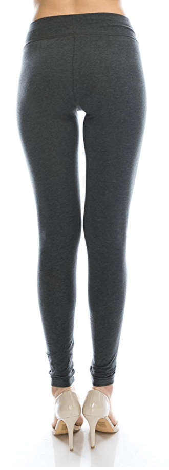 Charcoal Cotton Spandex Basic Knit Jersey Full Leggings for Women