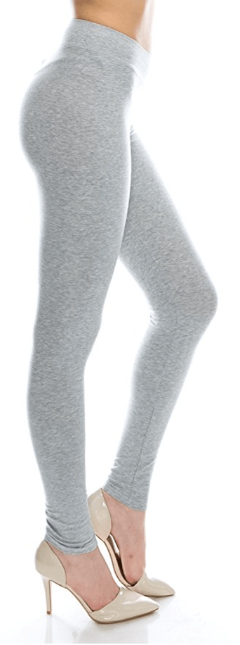Gray Cotton Spandex Basic Knit Jersey Full Leggings for Women