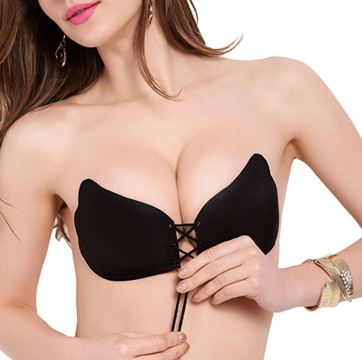 LALABRA Women's Black Strapless Bra Self Adhesive Silicone Push Up with Drawstring