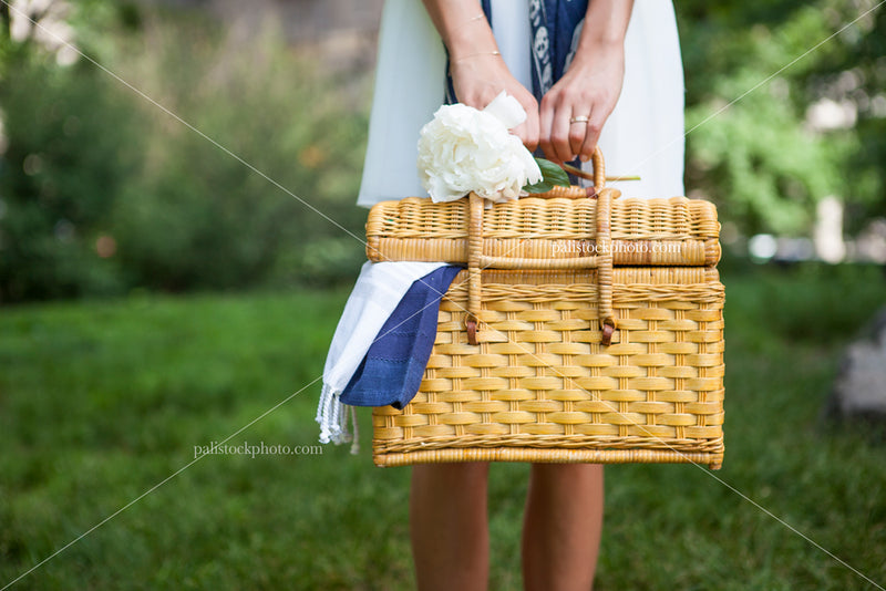 Girl Holding Summer picnic basket in park
