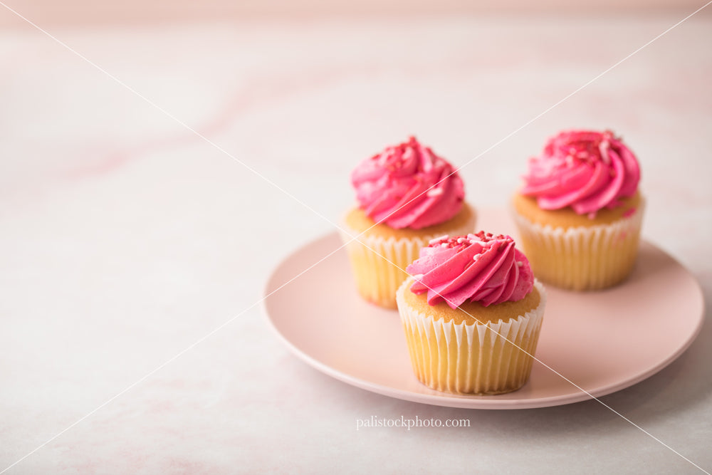 Valentine's Day Cupcakes on Pink Plate