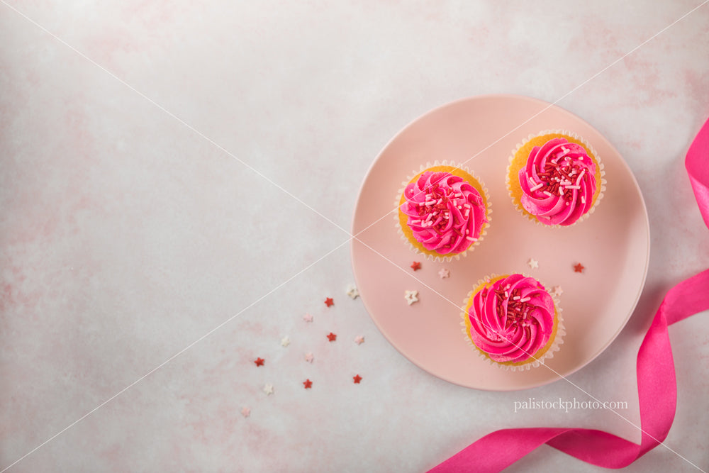Valentine's Day Cupcakes and Ribbon