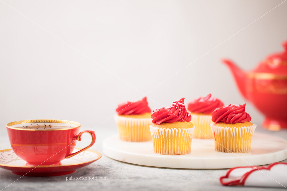 Valentines Day Cupcakes with Tea