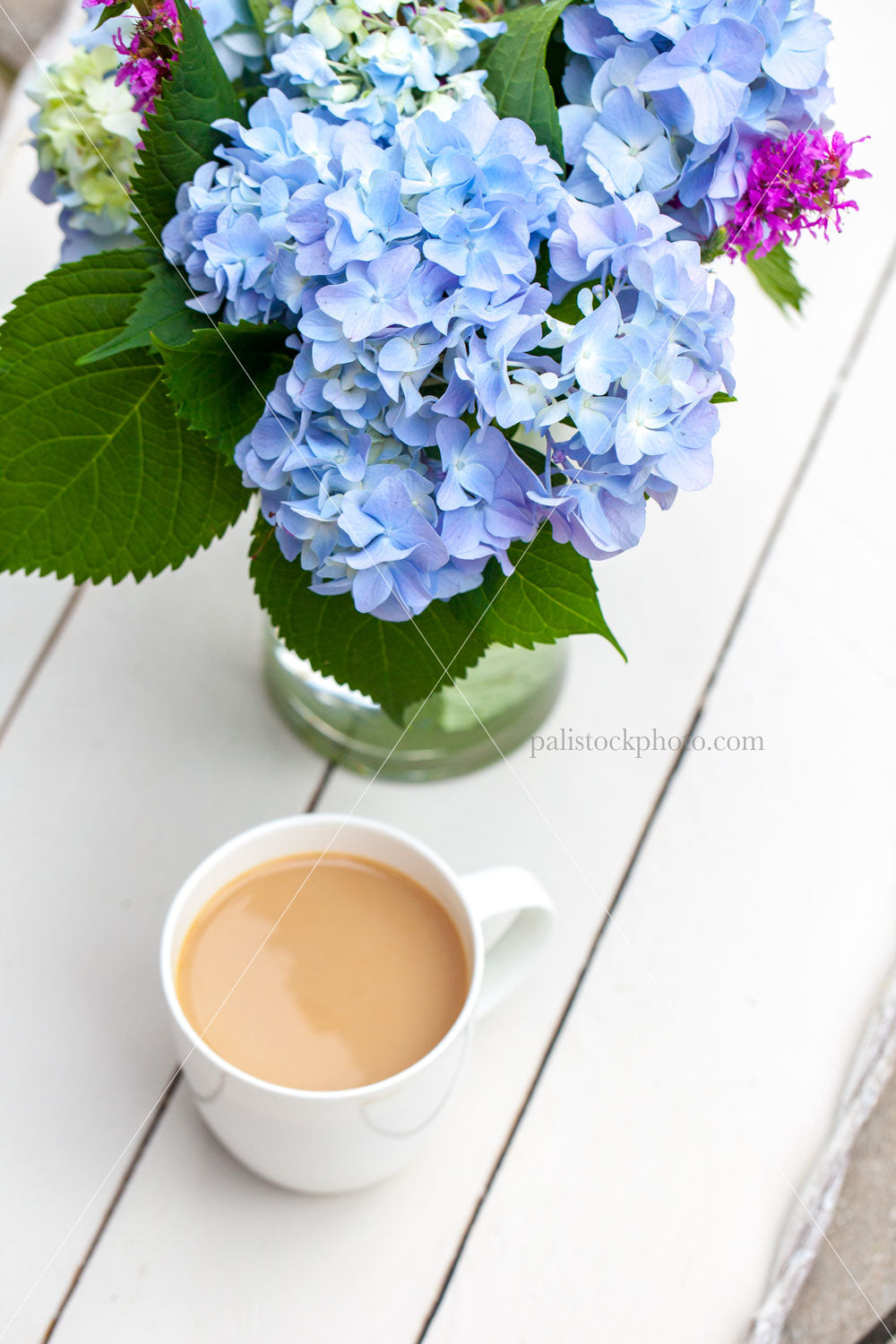 Coffee and blue hydrangeas