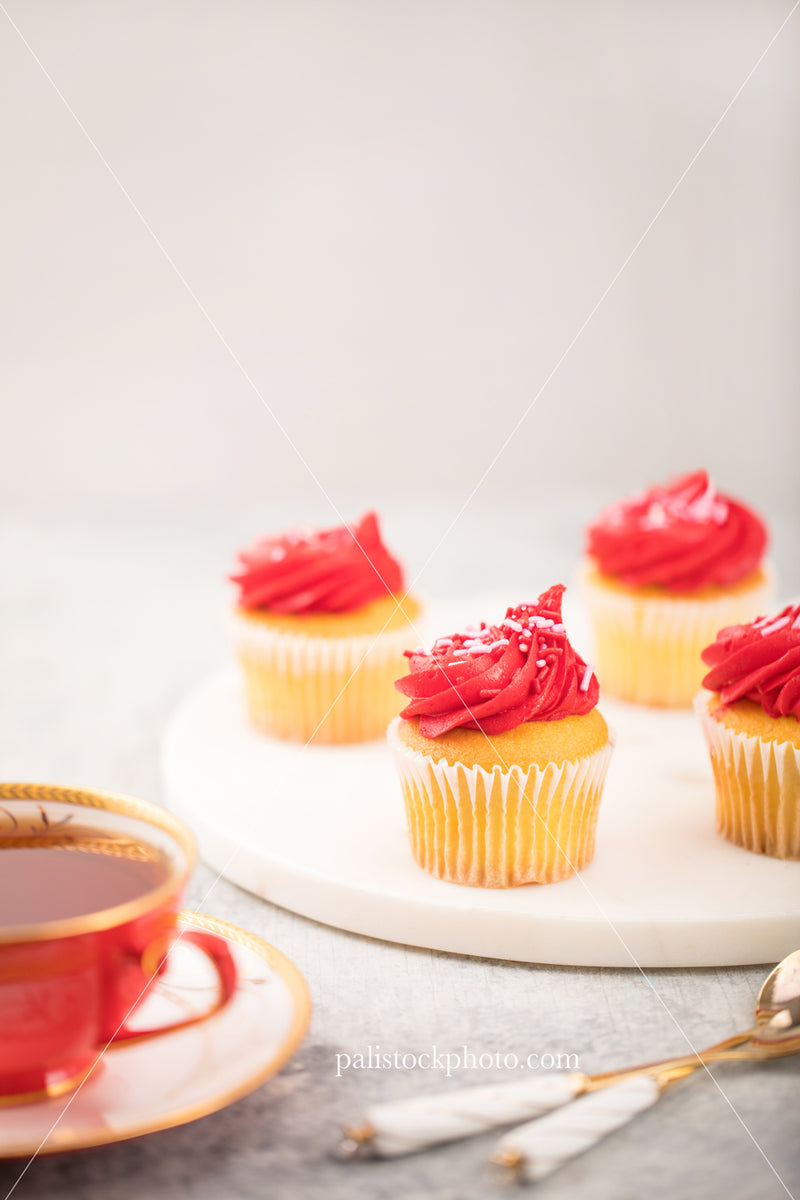 Valentine's Day Red Cupcakes with Teacup
