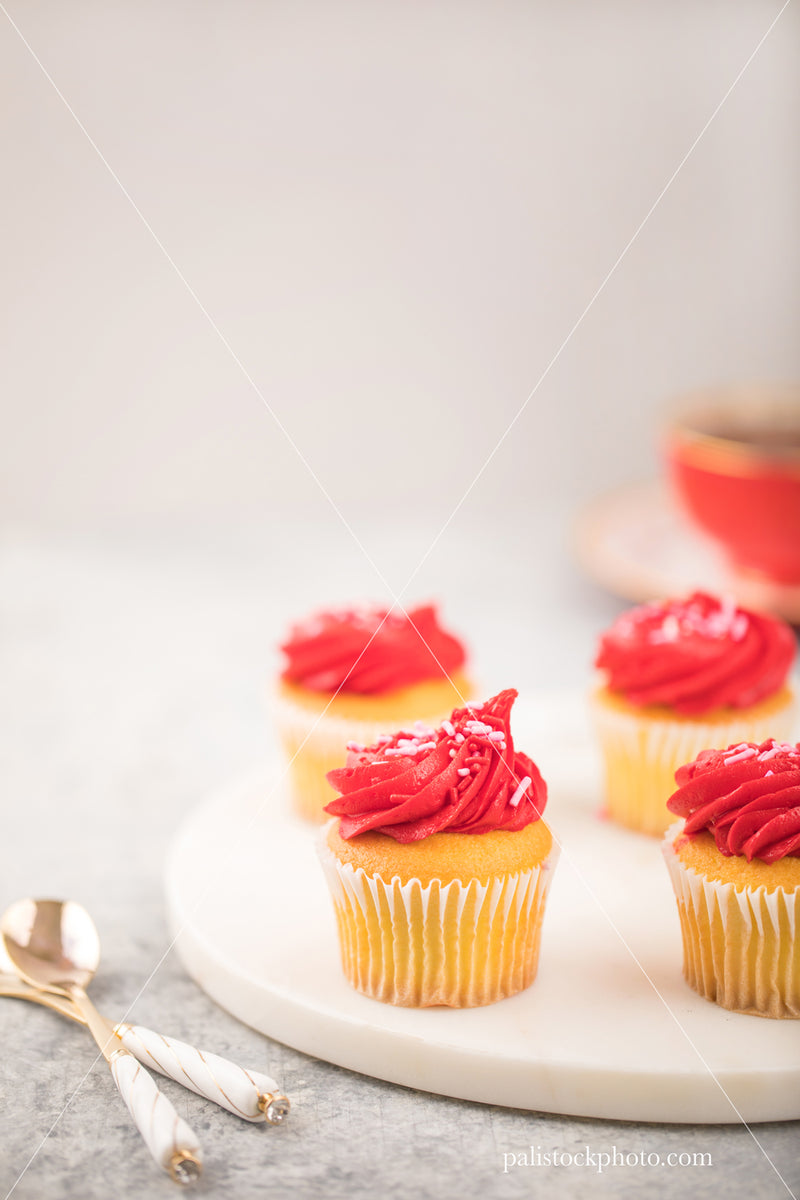 Valentine's Day Red Cupcakes with Tea