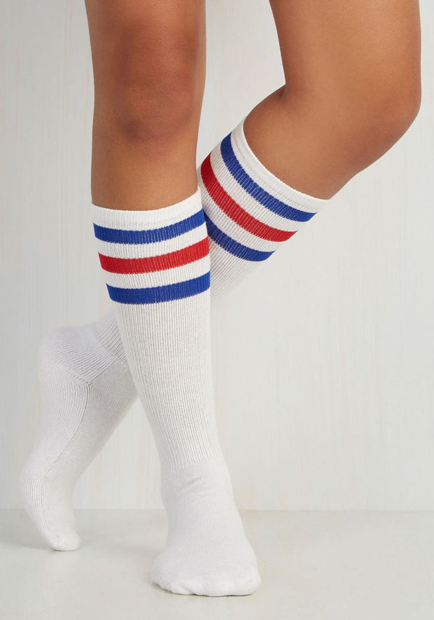 Classic Skater's Socks - Red & Blue Stripes