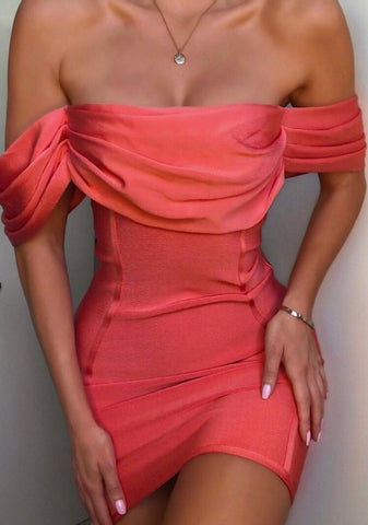 FELICITY off the shoulder Mesh Bandage Dress!