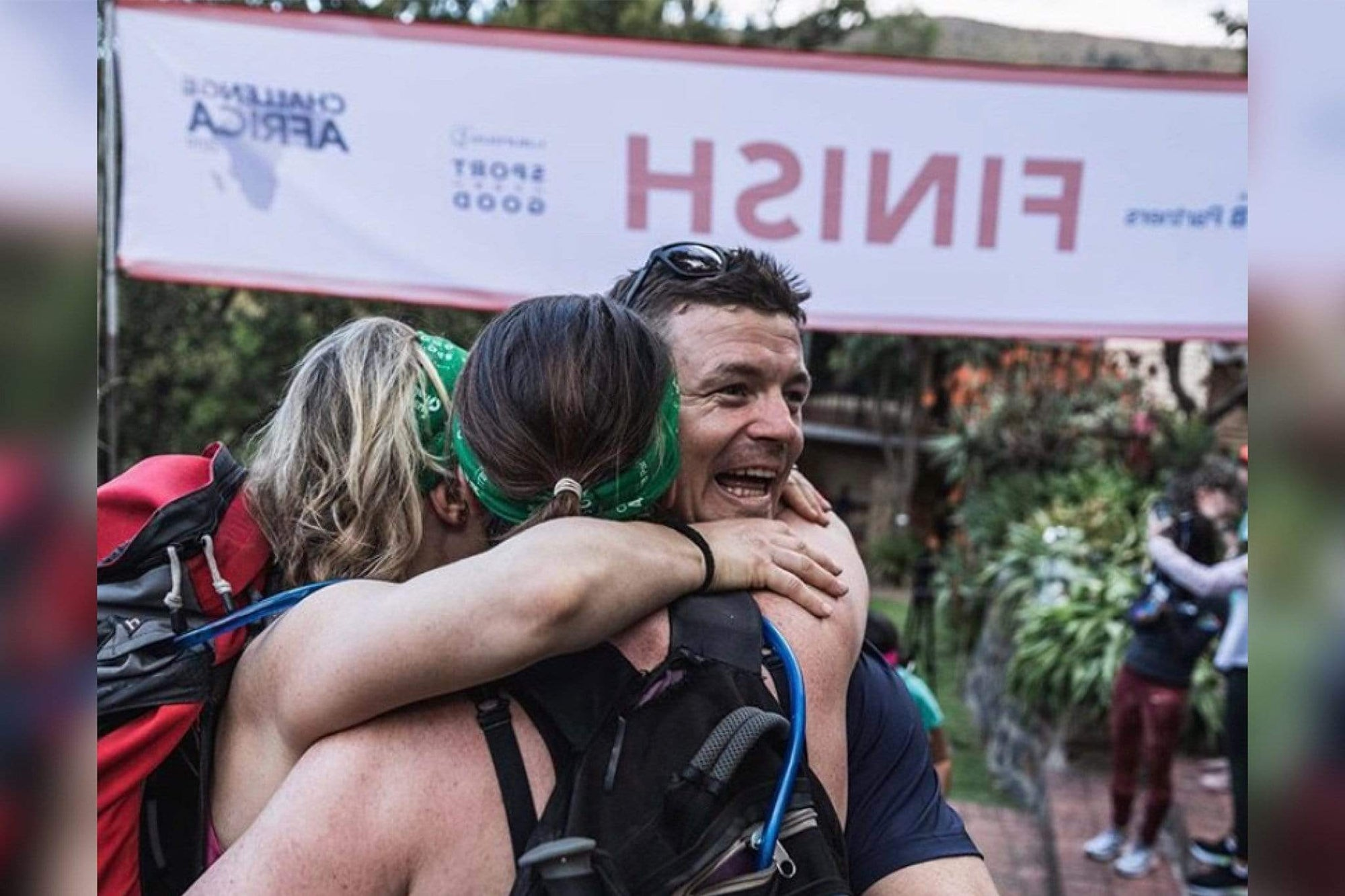 Brian O'Driscoll South Africa Trek Finish Line Photo with Sisters