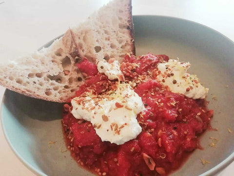 homemade Shakshouka with homemade ricotta served by Man Street Kitchen