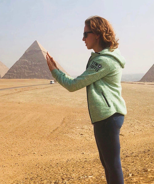 Gym+Coffee Hoodies in the Wild Pic at The Great Pyramid of Giza, Egypt - Modern Wonder of the World