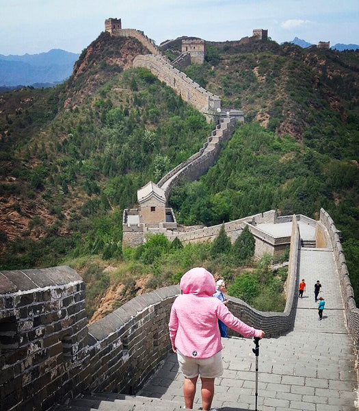 Pink Fleck Hoodies in the Wild Pic at The Great Wall of China - One of Seven Modern Wonder of the World