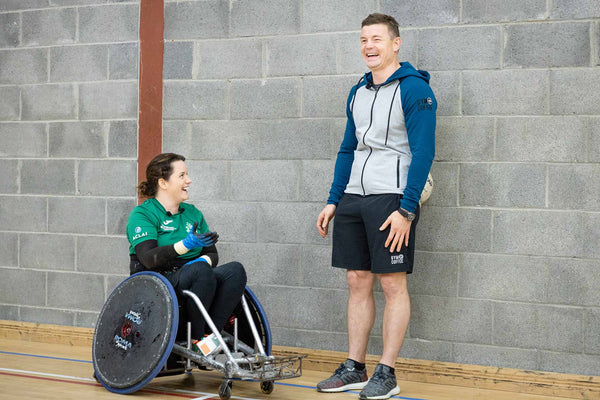 Brian O'Driscoll trains with Irish Wheelchair Rugby Team Star Ciara Staunton