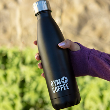 Gym+Coffee Black Stainless Steel Reusable Water bottle