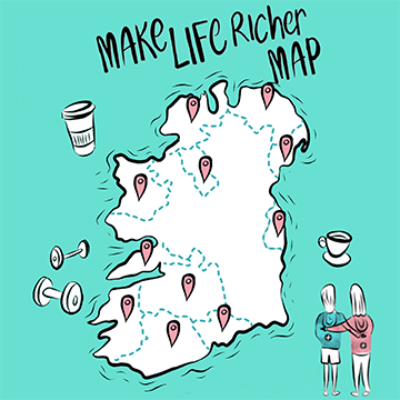 Gym+Coffee Make Life Richer Map of Ireland