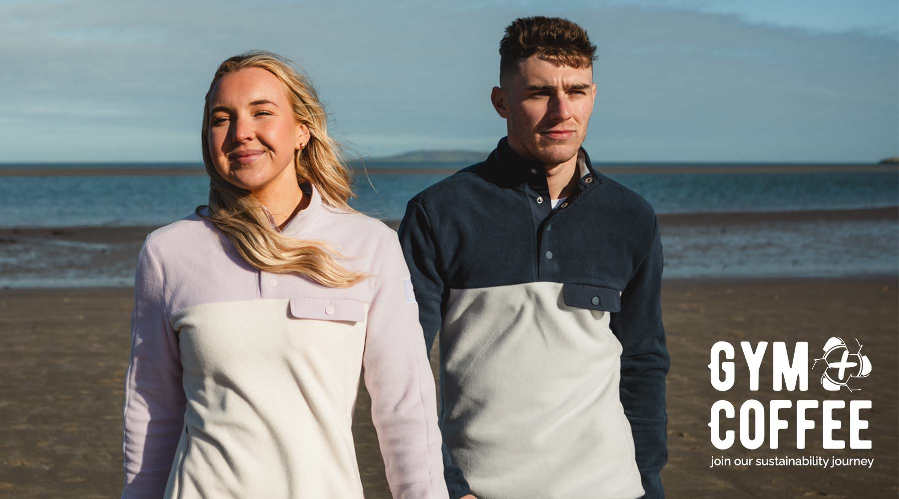 Gym+Coffee Mens and Womens Sustainable Fleeces on Beach