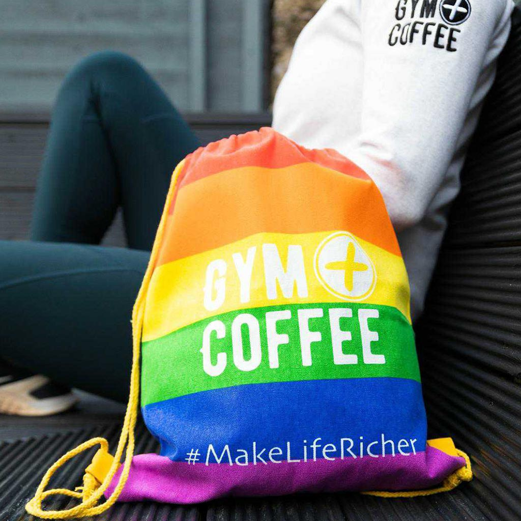Gym+Coffee Rainbow Pride Drawstring Tote Bag